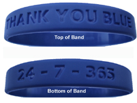 Blue Wristband says THANK YOU BLUE
